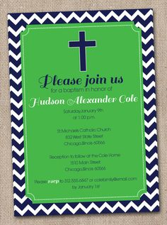 Printable Baptism Invitations Kelly Green and Navy Blue Chevron Stripes -- maybe use for Communion