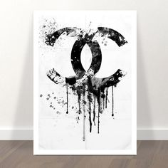 chanel poster - chanel print -  - chanel inspired - CC dripping - Coco Chanel liquidated logo - chanel art