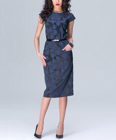 Blue-Black Brocade Belted T-Shirt Dress by JET #zulily #zulilyfinds