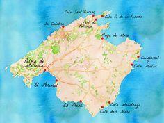 Carte des plus belles plages de Majorque.