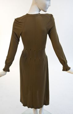 Jean Muir - Brown Rayon Jersey dress |Manhattan Vintage Clothing Show