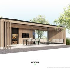 Poolhouse render gemaakt door Unicus Pavillion Backyard, Outdoor Rooms, Outdoor Living, Garden Design, House Design, Modern Pergola, House Extensions, Pool Houses, Cozy House