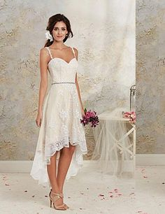 2015 hi lo lace beach wedding dresses gown spaghetti 2014 summber free custom plus size short
