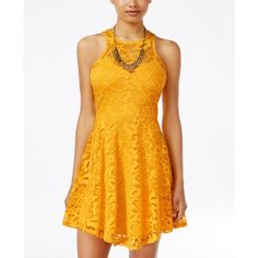 Material Girl Juniors' Lace Skater Dress, ($35) ❤ liked on Polyvore featuring dresses, daffodil, night out dresses, material girl dresses, lace dress, party dresses and lacy dress