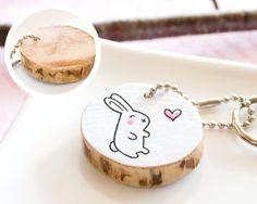 Bunny Wooden Keychain Cute Drawing Animal Rabbit Keyring Handmade Girlfriend Boyfriend Friend Mom Gift Heart Round Reclaim Wood Eco Friendly
