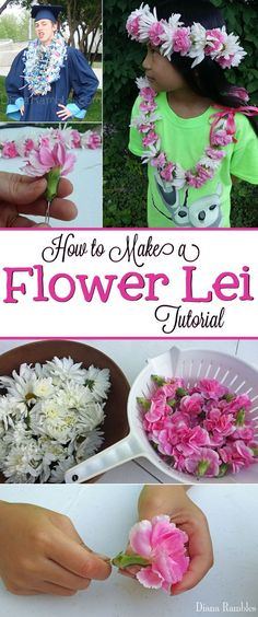 How to Make a Flower Lei Tutorial - Making a flower lei is much easier than it looks. See how I made a floral necklace with fresh flowers. Great for graduation or weddings. Makes a perfect DIY Mother's Day Gift.