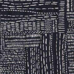 Sashiko is an ancient Japanese stitching technique which translates to little stabs and was once used to reinforce cloth. This functional embroidery inspired Rebecca to create a woven fabric covered in little marks. #rebeccaatwood #RAfabricbytheyard #RAblue