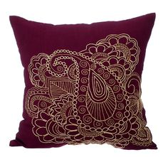Gold Henna - 16 x 16 Gold Zardozi Embroidered Purple Velvet Pillow.