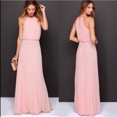 LAST 1! Pink blush maxi dress pleated bridesmaid Gorgeous accordion knife pleated blush pink maxi dress. Available in m or l only! Belt not included. Ships immediately complete the look with this gorgeous 3 layer necklace for $15 more! WILA Dresses Maxi