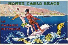 ✨ SEM (Georges Goursat, 1863-1934) - MONTE CARLO BEACH, Le Paradis Retrouvé, 1931. Lithograph in colours, printed by Draeger, Paris