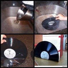 "DIY vinyl record bookends... or use 45's instead & use for cd ""bookends""!"