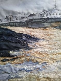 Items similar to Whitley Bay Sands - Textile Art Giclee Print on Etsy Whitley Bay Sands High quality giclee print of original textile/mixed media artwork, mounted in sno Textiles Techniques, Embroidery Techniques, Art Techniques, Textile Fiber Art, Textile Artists, Fine Art Textiles, Landscape Art Quilts, Creative Textiles, Embroidery Designs