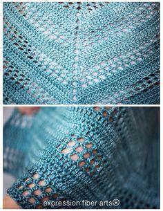 teal tenacity crochet shawl pattern by expression fiber arts