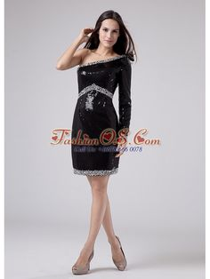 Beaded Decorate Waist Sequins Mini-length One Shoulder Column Prom Dress Black  http://www.fashionos.com   affordable prom dress   prom dress on sale   prom dress online shop   where to buy prom dress   discount prom dress   prom dress websites   low price prom dress   fitted prom dress   pretty prom dress for 2013   spring prom dress    Wearing this dress, you are surely will be a red-carpet winner.