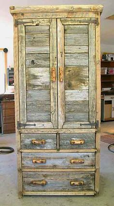 Weathered barnwood on Hoback Armoire