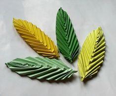 Origami Paper Leaf Tutorial DIY with Paper flowers  Hojas hechas doblando hojas de papel verde Lleva explicaciones Papiroflexia Flores de papel Manualidad