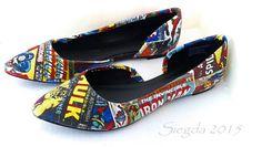 Marvel Comic Book-Women's Flats-Summer Flats-Hulk-Xmen-Captain America-Iron Man-Spiderman-Geek Chic-Custom Decoupage Shoes-