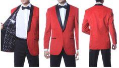 Zonettie by Ferrecci Premium Velvet Shawl Tuxedo Blazer Red 1 Button style  #Zonnettie #OneButton