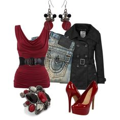 """Dark Red with Black Coat"" by sarah-jones-3 on Polyvore"