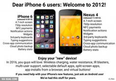 "Why iPhone 6 users should be embarrassed.Apple is behind the power curve again. How is their watch and ""new phone"" any different older Android devices including Samsung smartwatches? New Iphone 6, Apple Iphone 6, Latest Iphone, Galaxy Note 4, Photo Iphone 6, Troll, Apple Watch, Nouveau Iphone, Keyboard Typing"