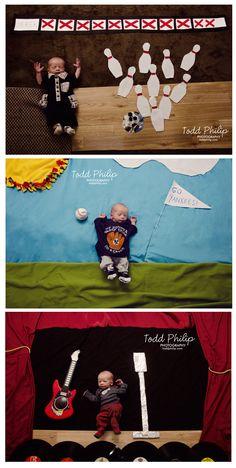 Imaginets! Inspired by Mila's Daydreams. tags: baby, newborn, photography, baseball, rock star, bowl, bowling, bowler, strike