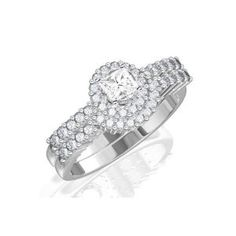 Amazon.com: 1.17 Carat Princess Cut Diamond Halo Wedding Ring Set on 10K White Gold: FineTresor: Jewelry