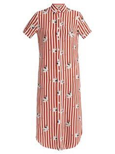 Spassosa bird-print striped silk dress | Stella Jean | MATCHESFASHION.COM