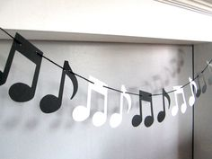 Music Note Garland, Music Recital, Music Teacher Gift, Music Theme Party, Black and White Musical No Music Theme Birthday, Music Themed Parties, Music Party, Recital, Decoration Creche, Name Tent, Music Teacher Gifts, Music Teachers, Vintage Maps