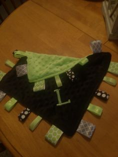 Monogrammed baby tag blankets