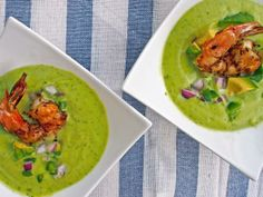 4th of July Recipe: Grilled Cumin Shrimp and Avocado Gazpacho >> www.hgtv.com/holidays-and-entertaining/grilled-cumin-shrimp-and-avocado-gazpacho/index.html?soc=pinterest