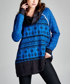 Loving this Royal Blue Microsuede Contrast Cowl Neck Tunic on #zulily! #zulilyfinds