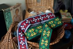 Vintage woven jacquard ribbon trim with embroidered  medieval motif by RubanRuban on Etsy