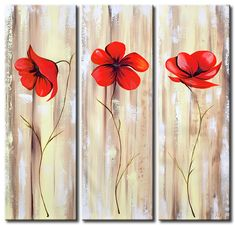 Santin Art-Poppies on a pearly background-Modern Canvas Art Wall Decor Abstract Floral Oil Painting Wall Art Wall Decor Home Decorations Framed and Ready to Hang Santin Art Poppy Flower Painting, Acrylic Painting Flowers, Modern Oil Painting, Simple Acrylic Paintings, Abstract Flowers, Acrylic Wall Art, Flower Art, Hand Painting Art, Flower Paintings
