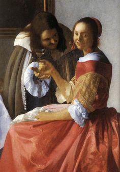Johannes Vermeer : A Lady and Two Gentlemen -detail
