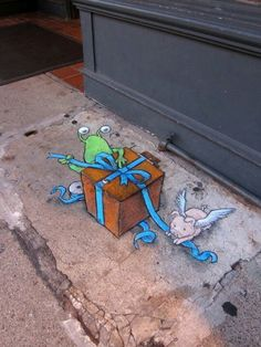 David Zinn Sluggo chalk street art