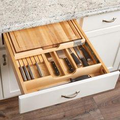 Rev-a-shelf knife drawer organizer and knife locking system - knife drawer holds cutting boards Kitchen Cabinet Drawers, Kitchen Drawer Organization, Kitchen Cabinets, Drawer Design, Cabinet Design, Drawer Inspiration, Cuisines Diy, Kitchen Tops, Kitchen Decor