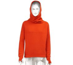 """Chalet knit hooded collar sweater Hermes hooded collar sweater in vermilion red """"chalet"""" knit (80% virgin wool, 20% cashmere)<br><br>This item may have a shipping delay of 1-3 days.<br><br>  $1,475.00"""