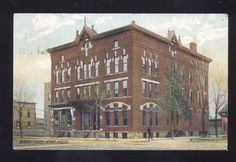 Postcard of the former Wright Hotel on Superior Street in Alma, Michigan, postmarked 1908