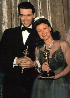 Jimmy Stewart and Ginger Rogers at the Oscars, 1941