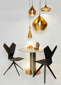 Y Chair, Tube Table and Brass Beat Collection of Pendant Lights, all designed and manufactured by Tom Dixon. Get The Originals at www.2ndfloor.gr