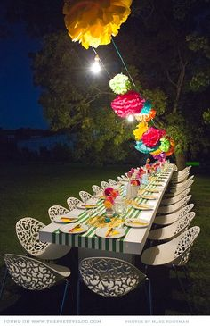 A Fanciful way to dine outdoors at night.