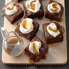 The rich molasses and spice flavor of this old-time dessert is complemented with a buttery caramel sauce.—Joy Sparks, Muskegon, MichiganGranny's Gingerbread Cake with Caramel Sauce Recipe photo by … Christmas Desserts, Christmas Baking, Christmas Ideas, Just Desserts, Dessert Recipes, Appetizer Recipes, Yummy Recipes, Delicious Desserts, Appetizers
