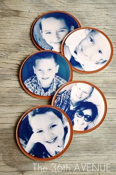 DIY Jar Lid Magnets - Cute gift for grandparents!  Could decorate the edge with lace, trim, buttons, etc.
