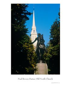 """Boston  - Statue of Paul Revere and behind him the white steeple is """"The Old North Church""""  The look outs were to signal Paul so he could ride through the countryside and warn the people that the British were coming to attack.  The signal was to have either one lantern or two in the window...""""one if by land and two if by sea""""  Loved seeing this and being in a place where history was made."""
