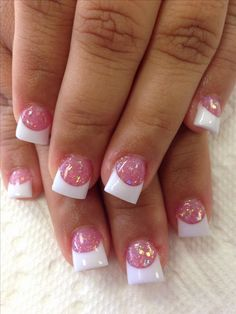 Popular Nail Designs Acrylic Nail Tips Designs New Love the Pink Glitter with White Tips Nails Weddi Nails Yellow, Cute Pink Nails, Pink Nail Art, White Nails, Nails With White Tips, Pink Tip Nails, Nail Art Designs, Acrylic Nail Designs, White Tip Nail Designs