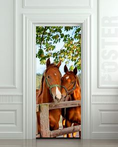 Door Wall or Fridge STICKER Horses Old Stall Barn mural decole poster #Realism