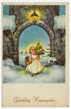 Postcards - Greetings & Congrads # 513 - Happy New Year Winter Scene with Child