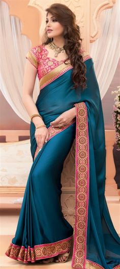 159254 Blue  color family Party Wear Sarees in Crepe,Satin,Silk fabric with Lace,Thread work   with matching unstitched blouse.