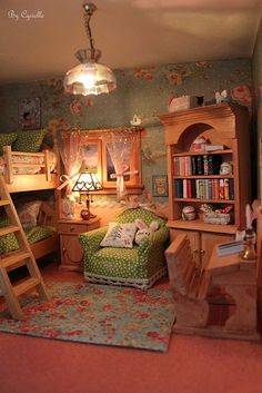charming miniature room. So even though this is a picture of a doll house, it would make a cozy kids' room.
