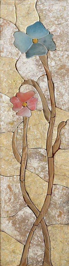 Stone Mosaic That Shows Two Flowers Tangled That Look Very Nice. It Gives A Fresh Look And Is Ideal For Decoration., Get it now for $157.